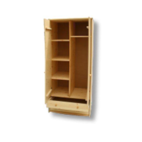 Tamás 2 ajtós 2 fiókos akasztós - polcos szekrény (válaszfalas)